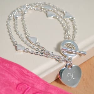 Triple-Strand Bracelet with Heart Charm