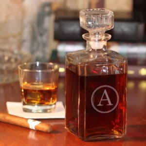 Personalized Glass Whiskey Decanter with Single Initial in Circle