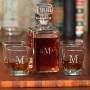 Personalized 5-Piece Whiskey Decanter Set with Monogram & Arrows
