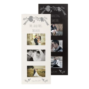 Personalized Silver Floral Wedding Collage Frame, choice of Black or White