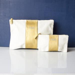 Faux Leather Clutch Set - Gold