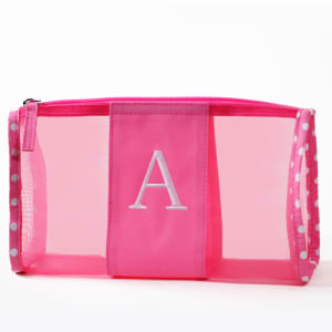 Personalized Pink Mesh Cosmetics Pouch