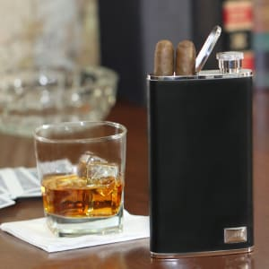 Leather Flask and Cigar Holder - All in One
