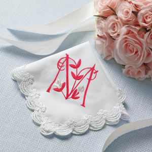 Scalloped Lace Wedding Handkerchief with Free Flower Initial Design