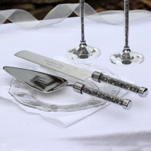 Oleg Cassini Crystal Hematite Serving Set