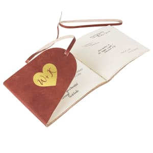 Heart Leather Guest Book Journal