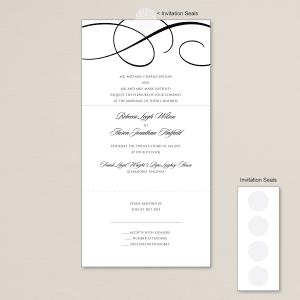 Elegant Scroll Seal and Send Wedding Invitation