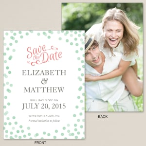 Polka Dot Mint Save the Date Card