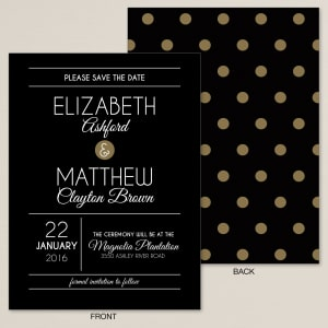 Midnight Polka Dots Save the Date Card