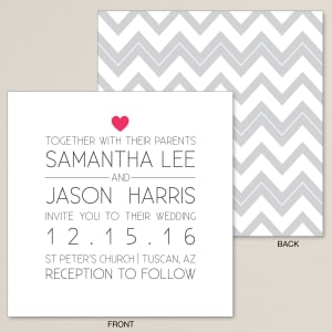 One Heart Wedding Invitation