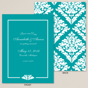 Bold Damask Save the Date Card