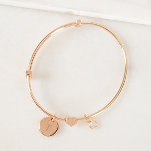 Rose Gold Wire Bracelet with Sliding Heart Pendant