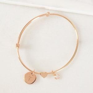 Rose Gold Wire Bracelet with Sliding Heart Pendant