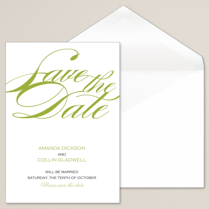 sophisticated script save the date card exclusively weddings
