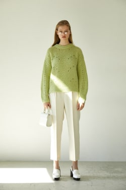 EYELET VOLUME SLEEVE sweater
