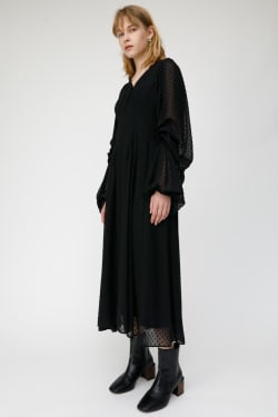 SHEER DOT VOLUME SLEEVE dress