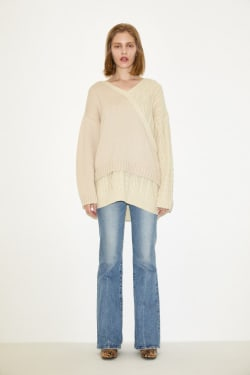 CABLE LAYERED KNIT TOP