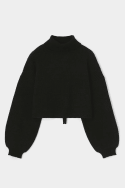 BACK OPEN TURTLE NECK knit