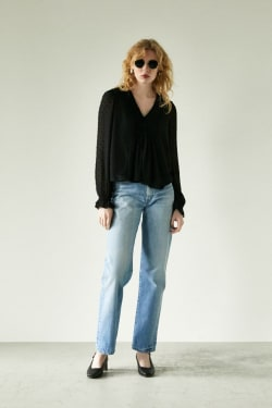 CHIFFON DOT PIN TUCK blouse