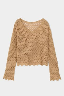 SCALLOP FLARE SLEEVE KNIT TOP