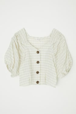 PUFF SLEEVE CHECK CROP TOP