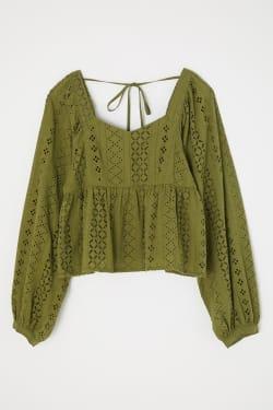 COTTON EYELET blouse
