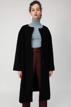 COLLARLESS FUZZY coat