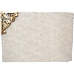 Cream Leather Table Mat With Carving Brooch (1 Pc)