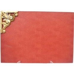 Red Leather Table Mat With Carving Brooch (1 Pc)