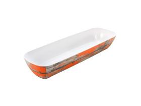 Tarjoilukulho melamiini puukuvio/oranssi GN 2/4