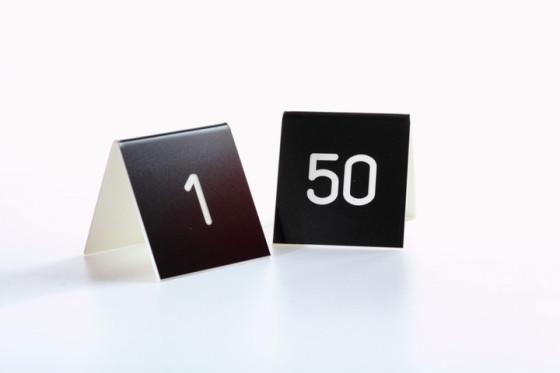 Pöytänumerot 50 kpl musta/valkoinen