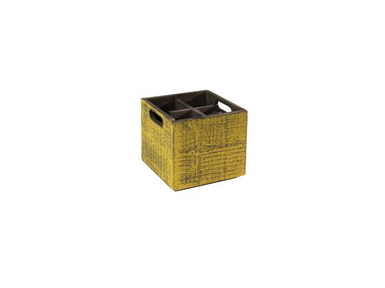 Puulaatikko keltainen 17x17x16 cm