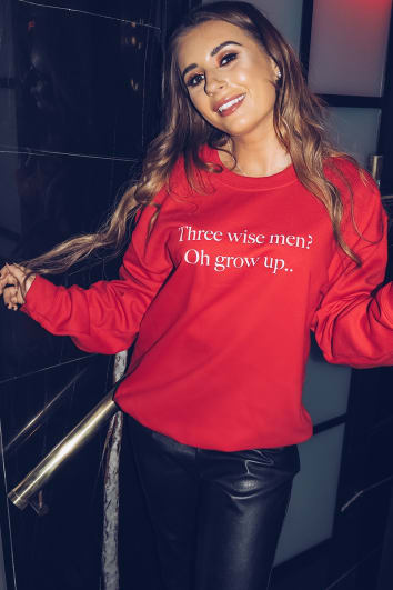fecc4eb097 DANI DYER RED THREE WISE MEN SLOGAN SWEATER