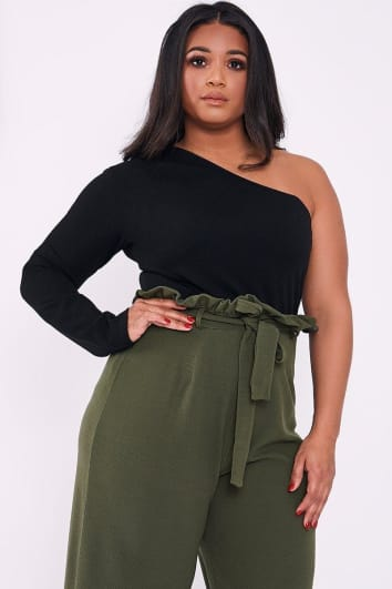 CURVE LINSEY BLACK ONE SHOULDER BODYSUIT