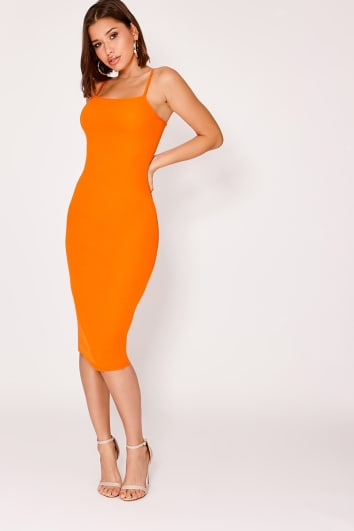 NICKAILA ORANGE CREPE SQUARE NECK MIDI DRESS