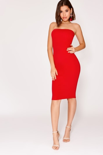 NADIA RED CREPE BANDEAU MIDI DRESS