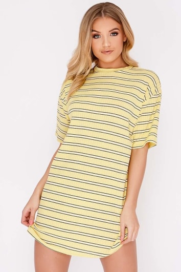 CACIA YELLOW STRIPE OVERSIZED T SHIRT DRESS