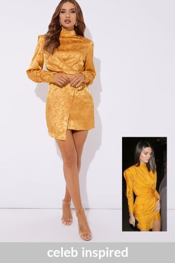 KENDALL MUSTARD JACQUARD HIGH NECK MINI DRESS