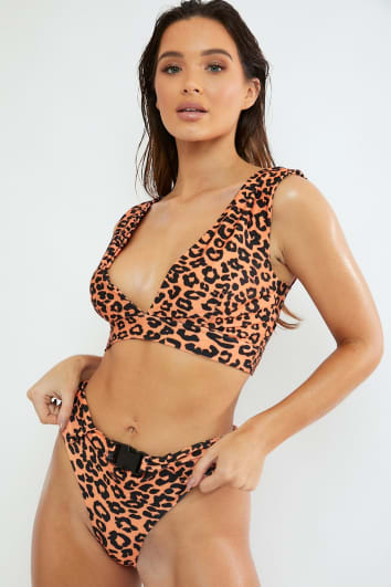 FRANCIS ORANGE LEOPARD BELTED HIGH LEG BIKINI BOTTOMS