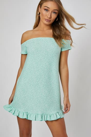 4557385f5b38 DHALIAA SAGE GREEN DITSY BARDOT MINI DRESS