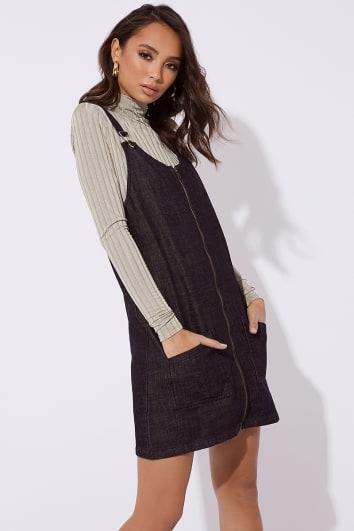 MAKLYA BLACK DENIM ZIP THROUGH PINAFORE DRESS