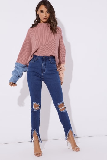ZANEY BLUE RIPPED KNEE DISTRESSED HEM JEANS