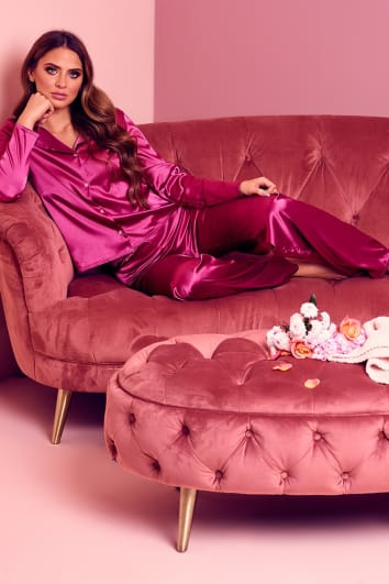 SELENA RASPBERRY SATIN LONG SLEEVE TOP AND TROUSERS