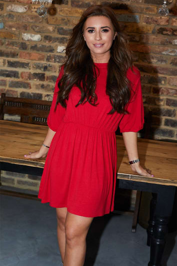 DANI DYER RED OVERSIZED SMOCK DRESS