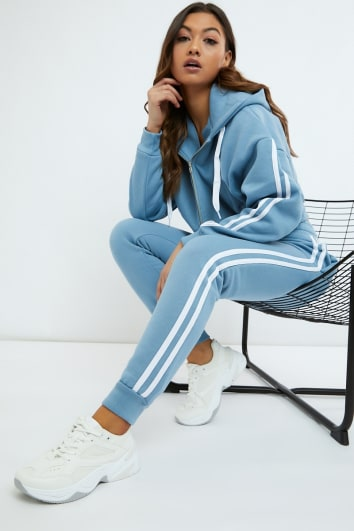 SARAH ASHCROFT DUSTY BLUE OVERSIZED CONTRAST STRIPE JOGGERS