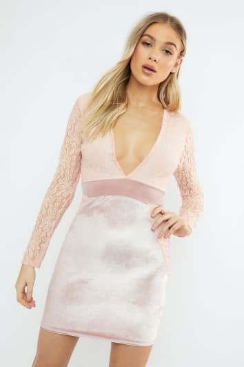 JAIDYN PINK LACE AND VELVET MINI DRESS