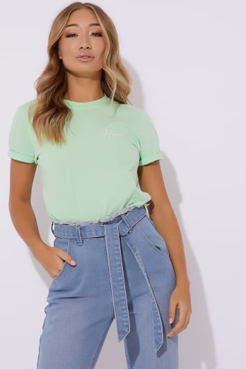 DANI DYER HUN MINT SLOGAN TEE SHIRT