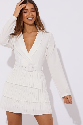 DANI DYER WHITE TIERED FRILL BLAZER MINI DRESS
