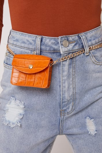 ORANGE FAUX CROC MINI BELT BAG