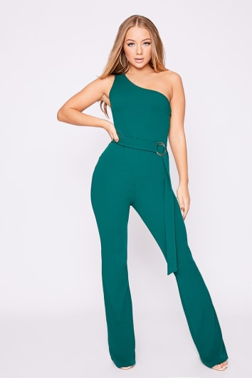 415a9be72cbd BILLIE FAIERS GREEN ONE SHOULDER RING DETAIL PALAZZO JUMPSUIT